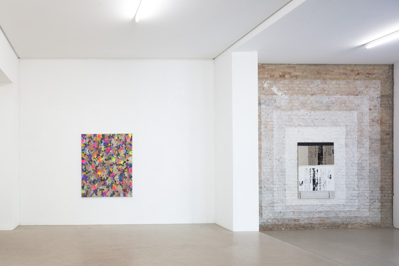 Installation view 2, Left work by Yorgos Stamkopoulos, Right work by Alexander Wolff