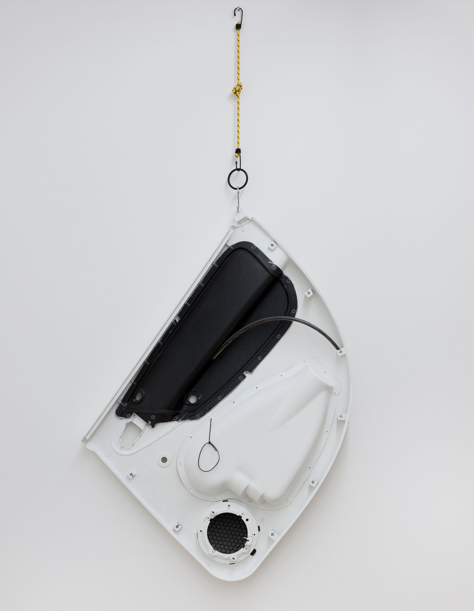 JC2012 - A Curve on the Right, Interior door trim, windscreen wiper blade, paint, bungee cord, hook, metal - 167 x 80 x 12 cm
